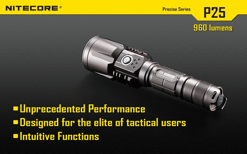Nitecore P25 960LM 8 modes Waterproof USB Tactical XM-L2 T6 led light lamp Flashlight Not Battery 3800 lumens cree xm l t6 5 modes led tactical flashlight torch waterproof lamp torch hunting flash light lantern for camping z93