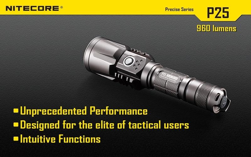 Nitecore P25 960LM 8 modes Waterproof USB Tactical XM-L2 T6 led light lamp Flashlight Not Battery nitecore tube usb mini flashlight keychain 2 modes 45lm