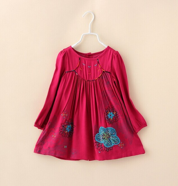 Autumn 2014 New Fashion Designer Kids Girl Dress Brand Children Princess Dresses, Baby Girls Red Embroidered Long-Sleeved Dress