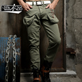 Fashion military pants straight tooling multi pocket pants male 100% cotton casual long trousers big bag