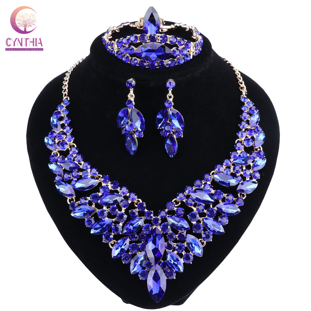 Blue Crystal Rhinestone Gold Color Necklace Earrings Bracelet Ring Set for Women Wedding Luxury Bridal Jewelry Sets a suit of charming red rhinestone bamboo necklace bracelet ring and earrings for women page 9