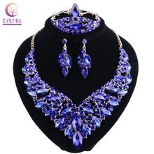 Azul cristal rhinestone oro color collar Pendientes anillo de pulsera Conjunto para las mujeres de boda de lujo Juegos de joyería para novia