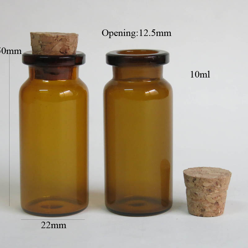 100 x 10ml Amber Glass Bottle with Cooden Cork 10cc 1 3oz Small Brown Bottle Cork