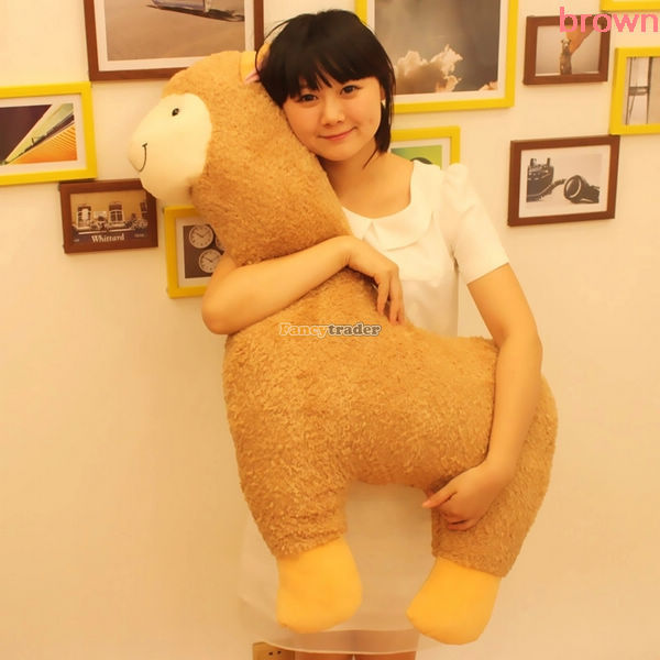 Fancytrader 35'' / 90cm Huge Soft Stuffed Lovely Plush Alpaca Toy, 4 Colors Available, Nice Gift for Kids, Free Shipping FT50501 fancytrader 2015 novelty toy 24 61cm giant soft stuffed lovely plush seal toy nice gift for kids free shipping ft50541