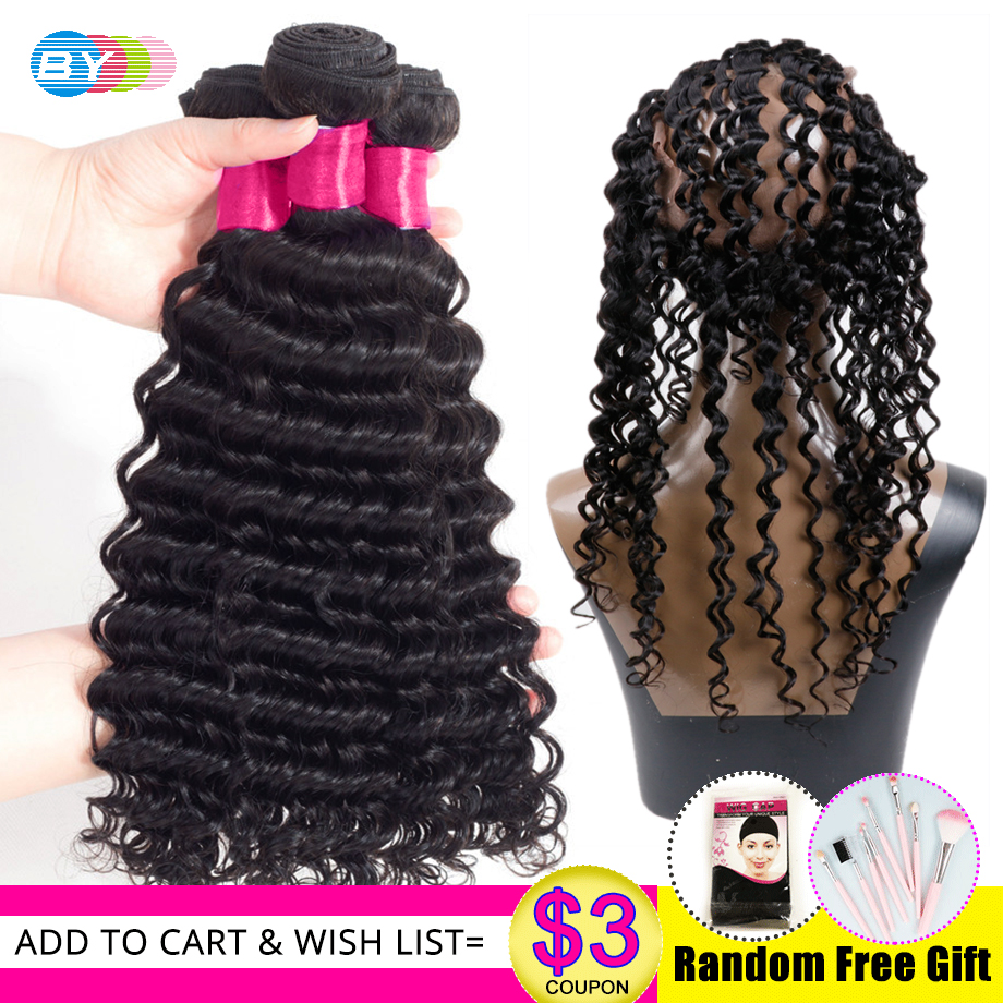 BY Deep Wave With Lace Frontal 3 Bundles Human Hair Weave With 360 Frontal Remy Brazilian