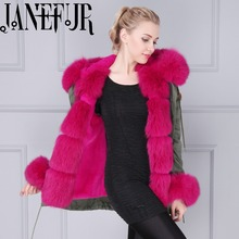 DHL Fast Shipping Hot Pink Thick Part Fox Fur Trimmed Luxury Ladies Fashion Short Parka Jacket