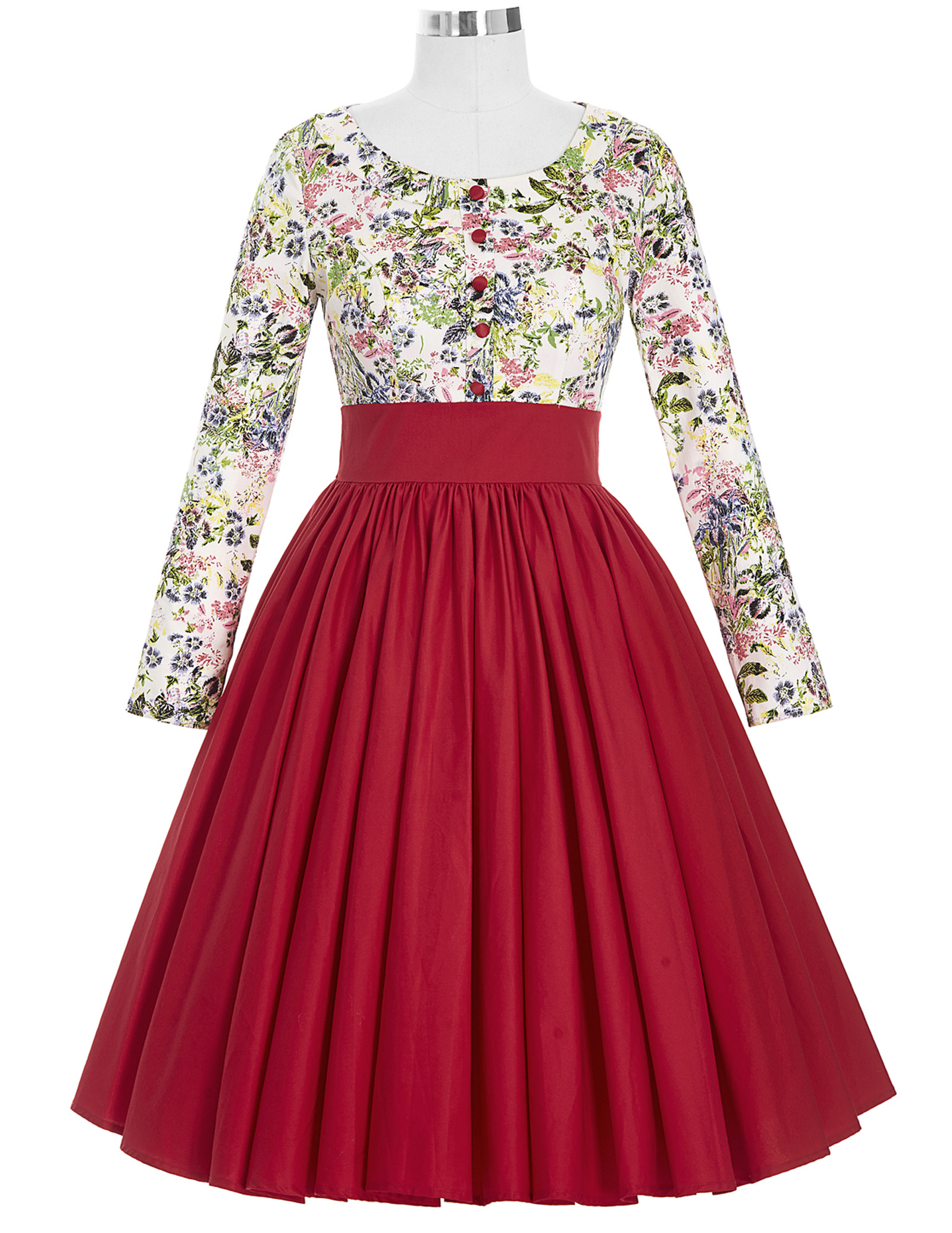 spring Summer Women Vintage floral patchwork Dress For Girl 50s 60s Rockabilly Robe Retro Big Swing A-Line Party Daily Dresses