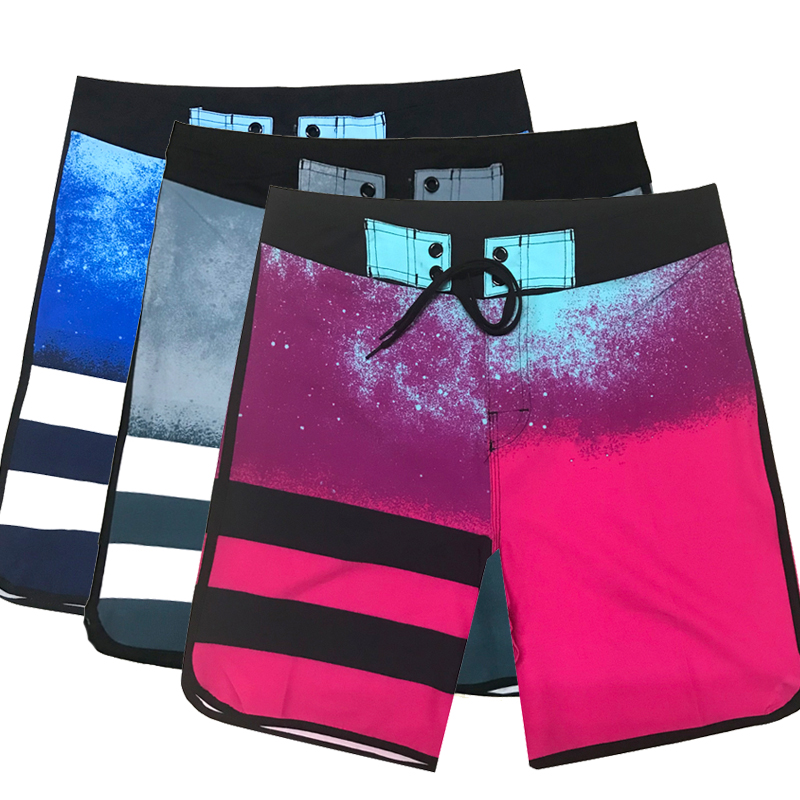 HOT Summer Beach Wear Men's Board Shorts Quick-dry Surf Swimwear Male High Elastic Striped Swim Shorts Running Gym Shorts 2019