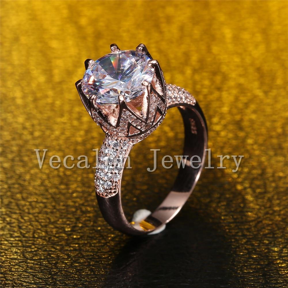 Vecalon Rose Gold Ehering für Frauen Rundschnitt 6 ct AAAAA Zirkon - Modeschmuck - Foto 2