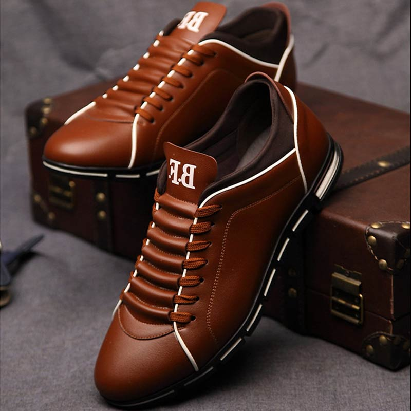 Fashion Men Flats Casual Shoes Loafers Mocassin Homme Leather Lace up Driving Shoes Footwear Zapatillas Hombre Casual-in Men's Casual Shoes from Shoes