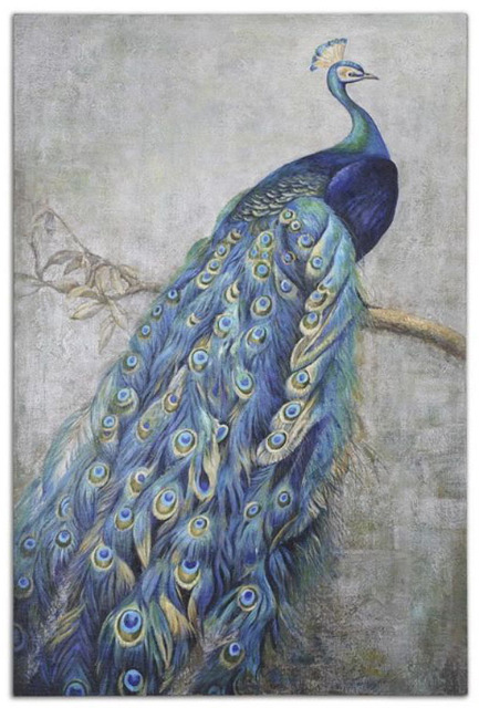 Wholesale decorations pictures decor peacock murals oil painting abstract modern wall art canvas - Peacock home decor wholesale photos ...