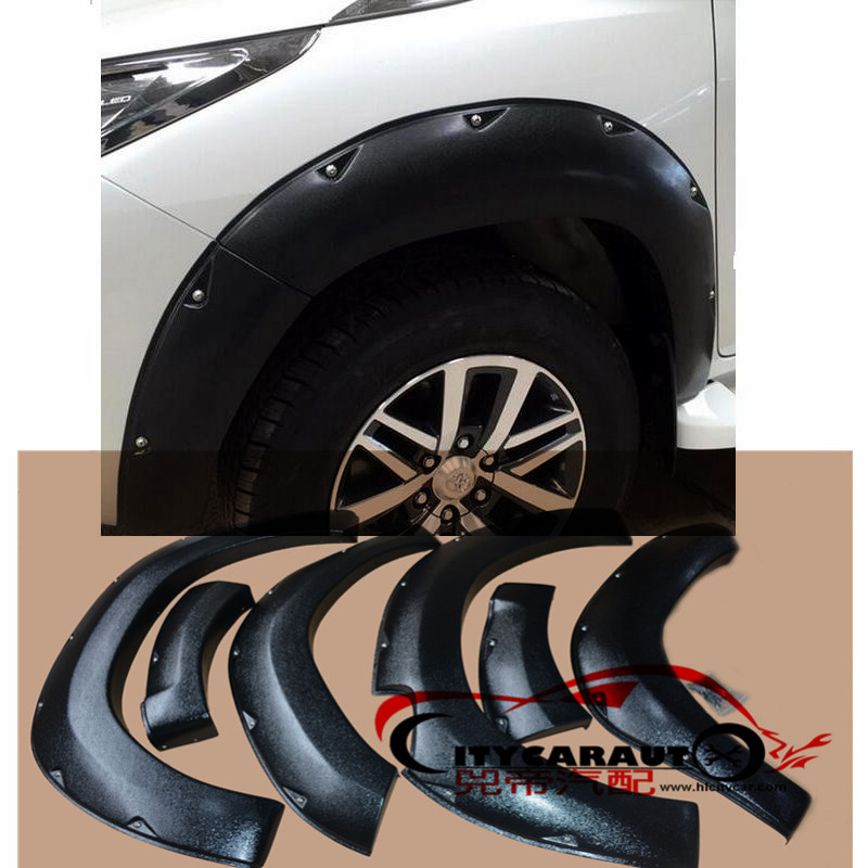 ФОТО CITYCARAUTO CAR STYLING MOULDING 6 Pcs Complete Set FENDER FLARE FOR Hilux Revo Wide Body Wheel Arch Fender Flare ABS Plastic