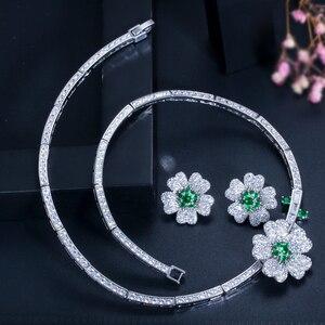 Image 3 - CWWZircons מותג אלגנטי מיקרו פייב ירוק CZ Zirconia אבן פרח קולר שרשרת עגיל תכשיטים סטים לנשים T091