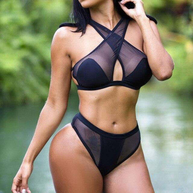 72e25ac588 Black Bikini Mesh Bathing Suit Swimsuit Women Triangle Swimming Suit Sexy  High Cut Swimwear Brazilian Bikini Thong White Biquini
