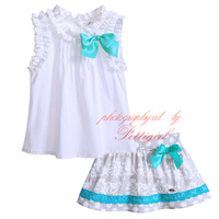 Pettigirl New Summer Cotton Print Girl Clothing Set With Bow White Boutique Casual Baby Girl Clothes G-DMCS907-769