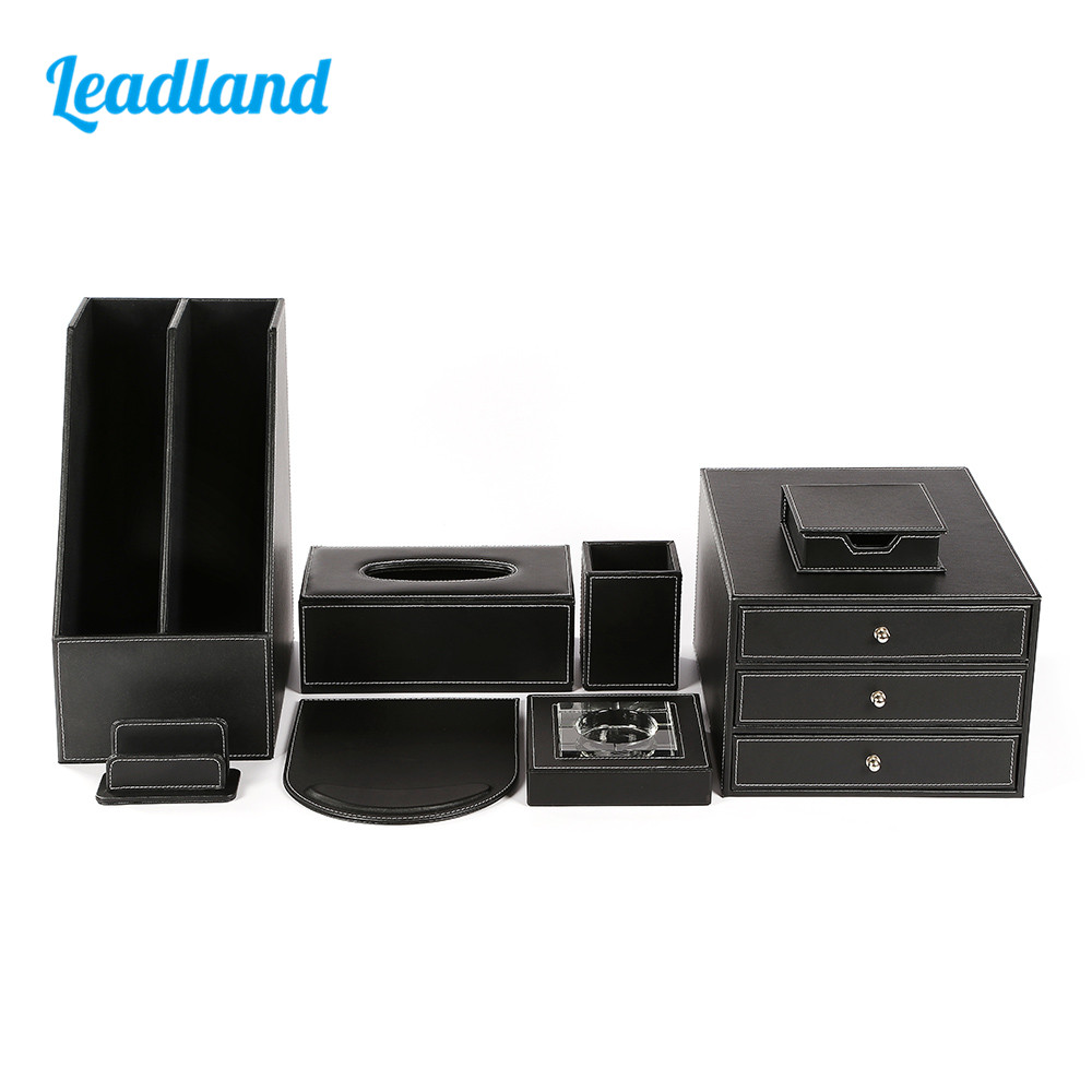 Deluxe Office Desktop 8-piece Set Pen Pencil Holder Mousepad Stationery Organizer Box Tissue dispenser Ashtray T03 Black/BrownDeluxe Office Desktop 8-piece Set Pen Pencil Holder Mousepad Stationery Organizer Box Tissue dispenser Ashtray T03 Black/Brown
