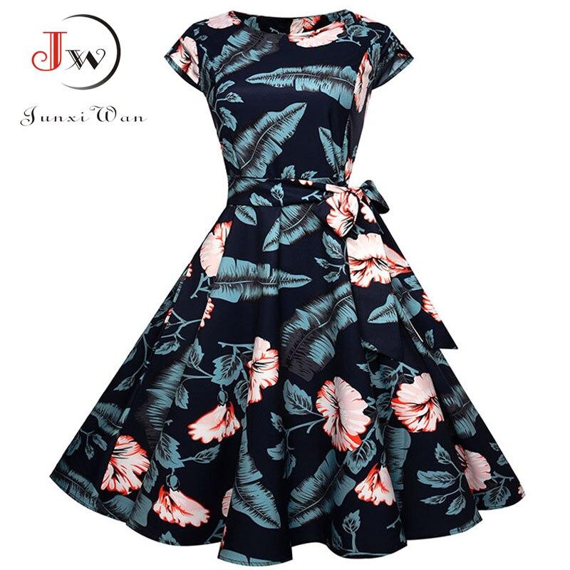 Black White Polka Dot Vintage Dress  Summer Women Floral Print Short Sleeve Retro Robe Rockabilly Dresses Party Jurkjes 2