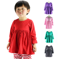 Kids Autumn Winter Long Sleeve Tops,solid Baby Girl Ruffled Dress,kids Cotton Tops For 1-6t,children Top Dress