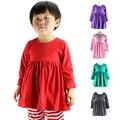 Niños Otoño Invierno Camisetas de Manga Larga, Vestido de Niña Con Volantes sólido, Algodón de los cabritos Tops Para 1-6 t, niños Top Vestido