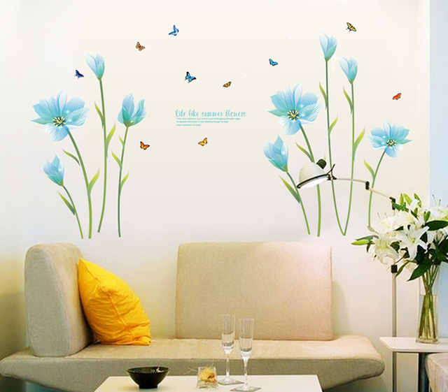 Blue Pink Lilies Large Wall Stickers Flowers Home Decor Living Room Diy  Mural Decals Removable Wallpaper