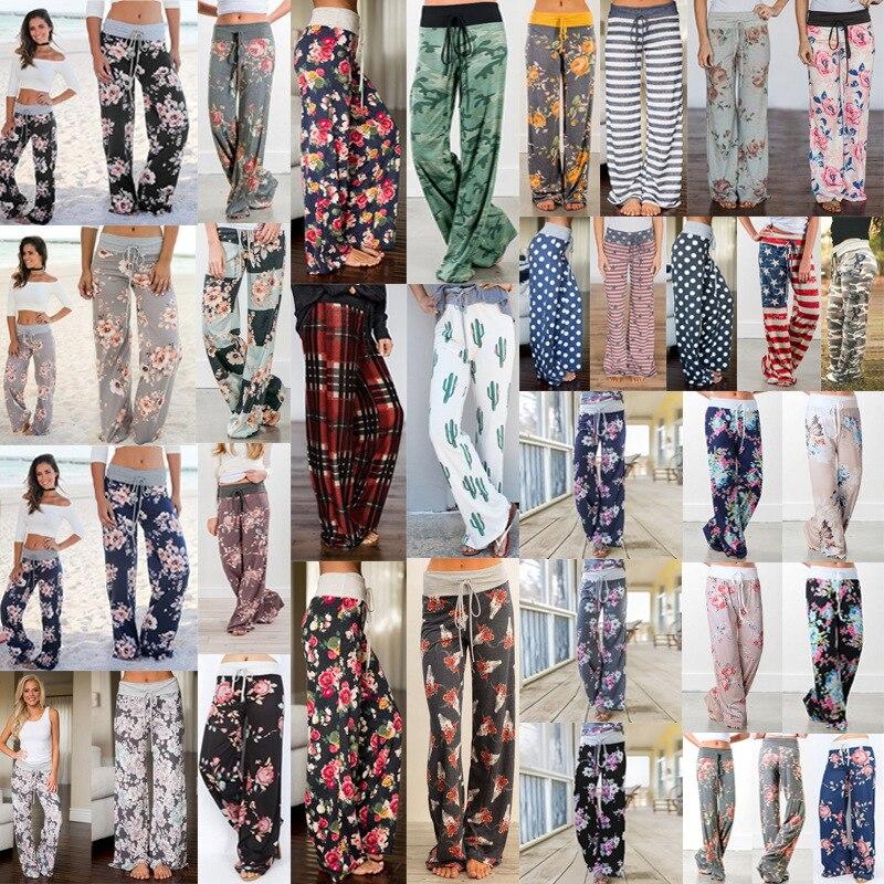 Wontive 2019 super hot sale   Wide     Leg     Pants   Women Summer 2019 Streetwear High Waist   Pants   Elastic Casual Drawstring Long Trousers