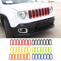 SHINEKA ABS Car Exterior Insert Trim Front Grille Cover Ring Decoration Stickers For Jeep Renegade 2016 2017 2018 Car Styling