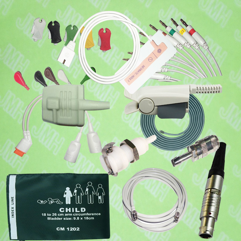 2pcs Spo2 Sensor ECG EKG Cable And Electrode IBP Cable NIBP Cuff Temprature Probe Holter Leadwires Medical Connectors.