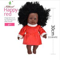 new fasion 30cm doll baby toys for kids girls child Christmas gifts black rag dolls pvc beauty 3d real stickers