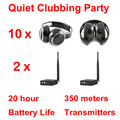Silent Disco compete system black folding wireless headphones - Quiet Clubbing Party Bundle (10 Headphones + 2 Transmitters)