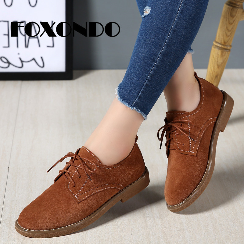 FOXONDO 2019 Autumn New Fashion Women Oxford Shoes   Leather     Suede   Lace-up Shoes Women Flats Round Toe Ladies Boat Shoes Moccasins