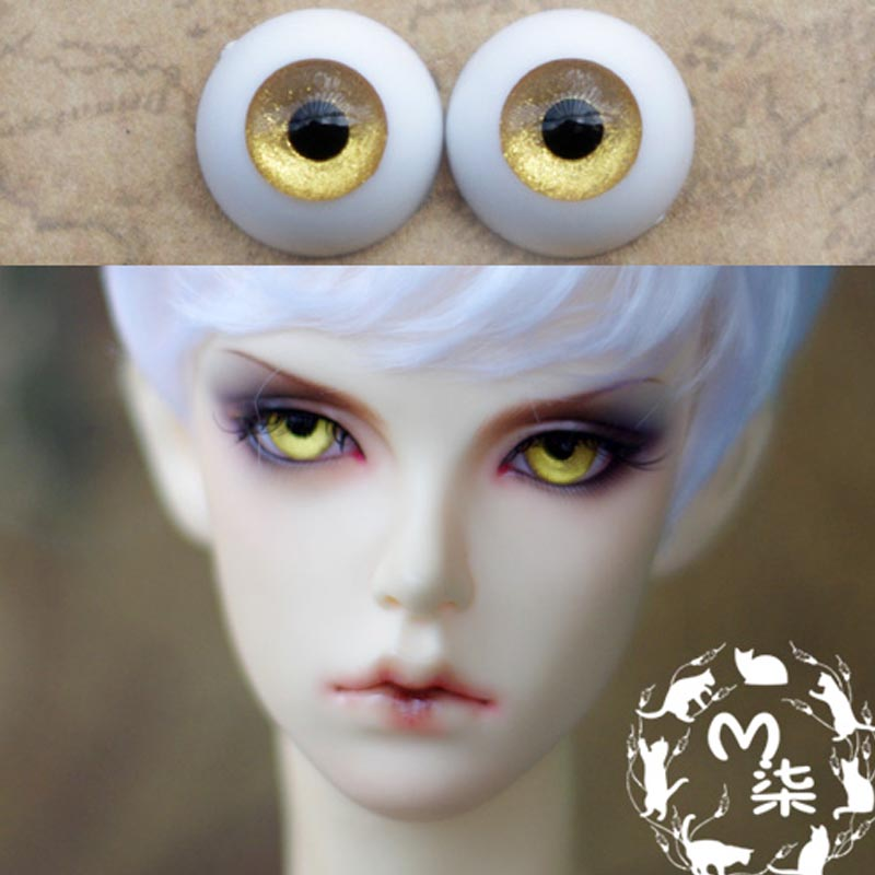1Pair Retail Dolls Accessories Yellow Color Acrylic Eyes Doll BJD Doll Eyes 16MM uncle 1 3 1 4 1 6 doll accessories for bjd sd bjd eyelashes for doll 1 pair tx 03