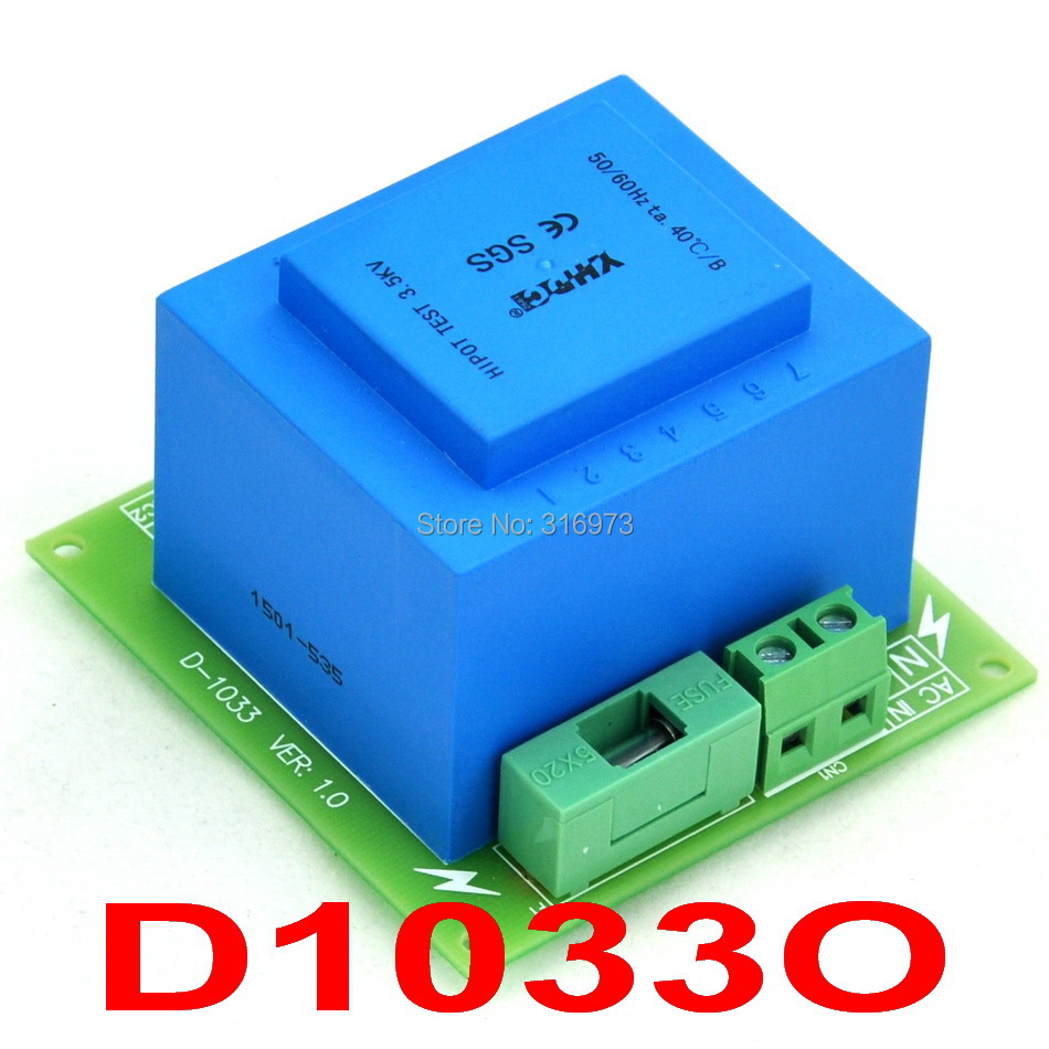 Primary 230VAC, Secondary 12VAC, 20VA Power Transformer Module, D-1033/O, AC12V