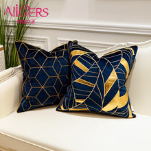 Avigers Luxury Blue Cushion Covers Decorative Pillow Cases Appliqu Throw Pillowcases 45 x 45 50 x 50 Cushion for Sofa Bedroom(China)