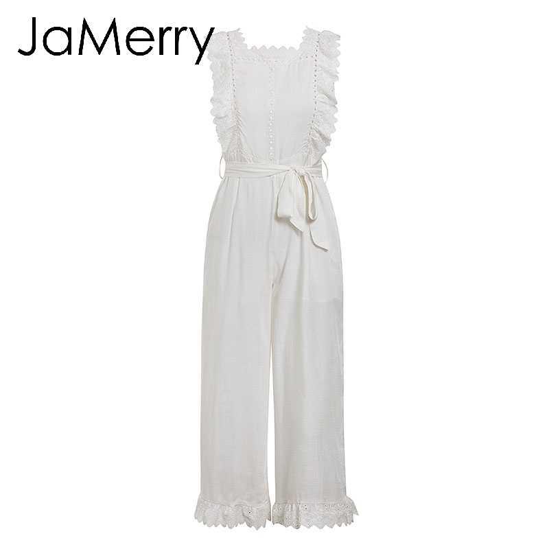 JaMerry/Винтажный хлопковый льняной женский комбинезон с оборками и вышивкой, элегантный длинный Детский комбинезон с вырезами и поясом, повседневный комбинезон