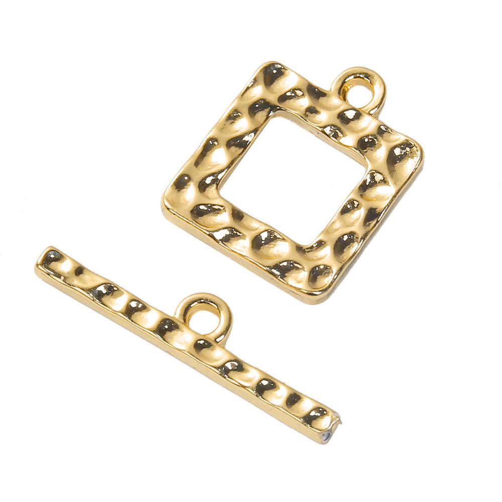 "DoreenBeads Zink Legierung Auf Silber Gold Farbe DIY Toggle-haken Platz 25mm x 5mm (1 ""x 2/8 "") 19mm x 15mm (6/8 ""x 5/8""), 2 Sets"