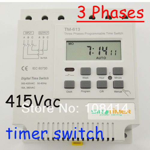 Trois phases 380 v 415 v MINUTERIE Commutateur programmable LIVRAISON GRATUITE