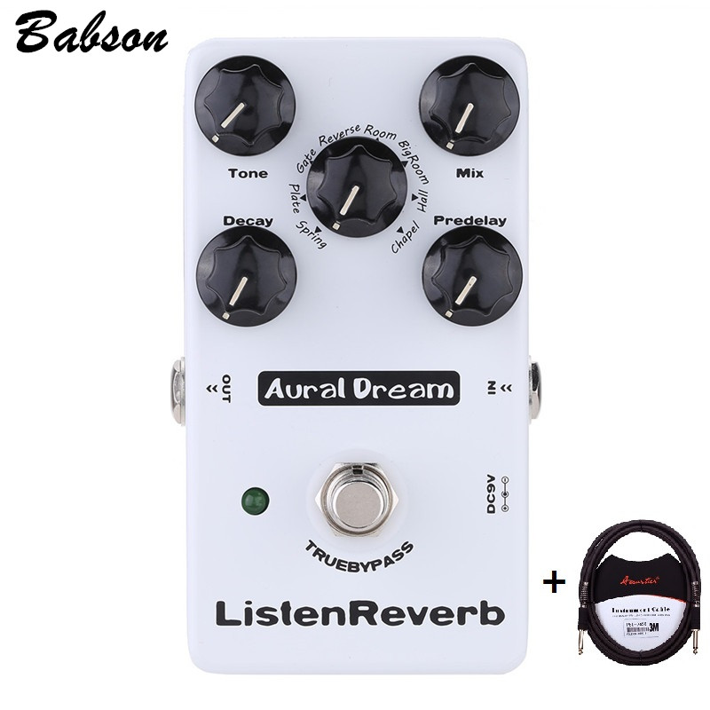 Aural Dream Listen Reverb True Bypass Digital Reverb Effects Pedal for Electric Guitar with 8 Reverb Effects with 3m cable caline snake bite reverb guitar effects pedal reverb guitarra pedal stompbox with echo delay effect true bypass free shipping
