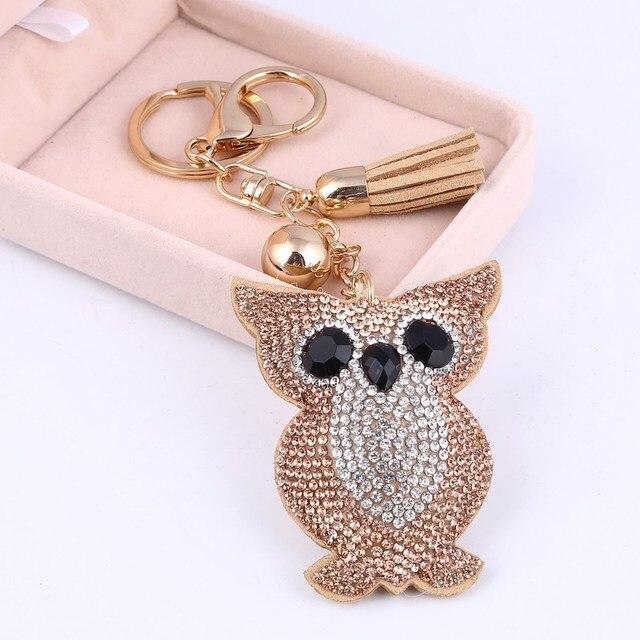 ZOSHI Rhinestone Phim Hoạt Hình Dễ Thương Owl Keychain Xe Tua Key Chain Vòng Chủ Mặt Dây Chuyền Cho Bag Charm Chaveiro llaveros mujer Quà Tặng