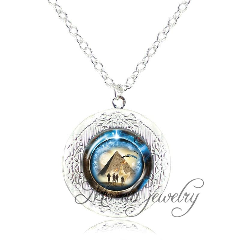 Stargate Portal Atlantis pendant pyramid jewelry space pendant glass dome locket necklace stargate portal travel through time