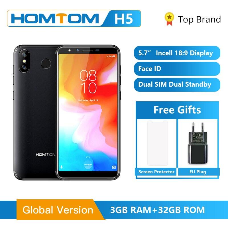 Original Global Version HOMTOM H5 3GB RAM 32GB ROM Quad Core Mobile Phone 5.7 Inch GPS Fingerprint Face ID 4G FDD-LTE Smartphone