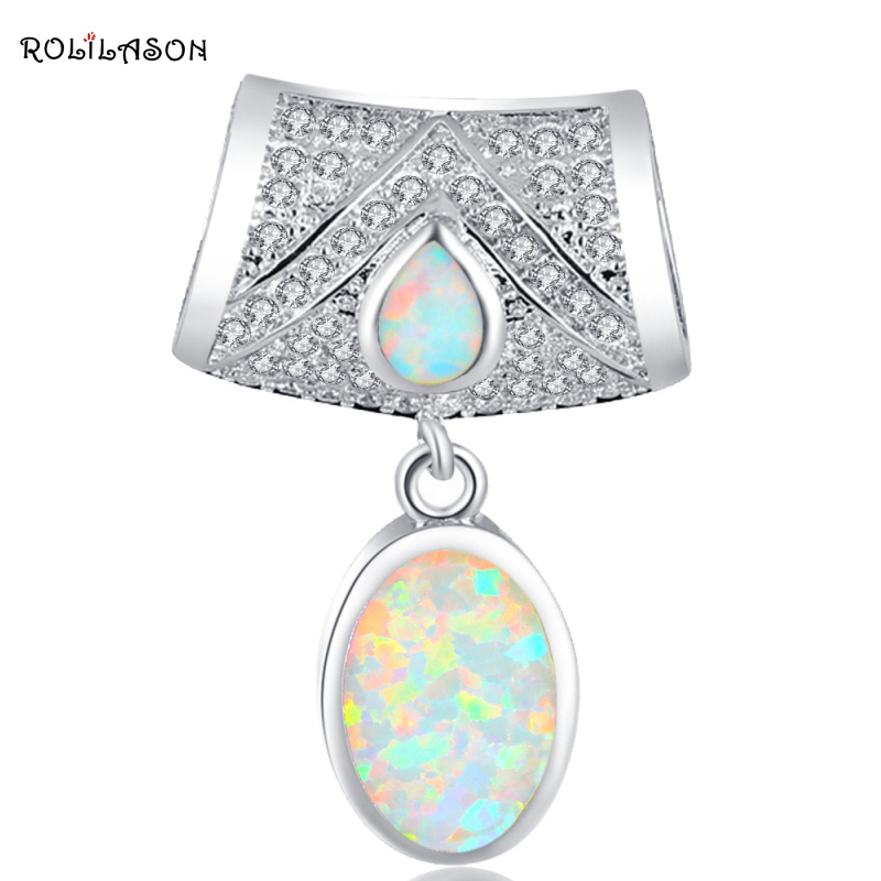 Party CZ White Fire Opal Silver Stamped 925 Necklace Pendants for women Fashion jewelry OP570 vintage faux opal floral necklace jewelry for women