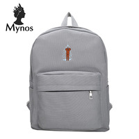 MYNOS Fashion School Bag Canvas Cute Travel Backpack For Women Big Capacity Brand Designer Backpack Bag