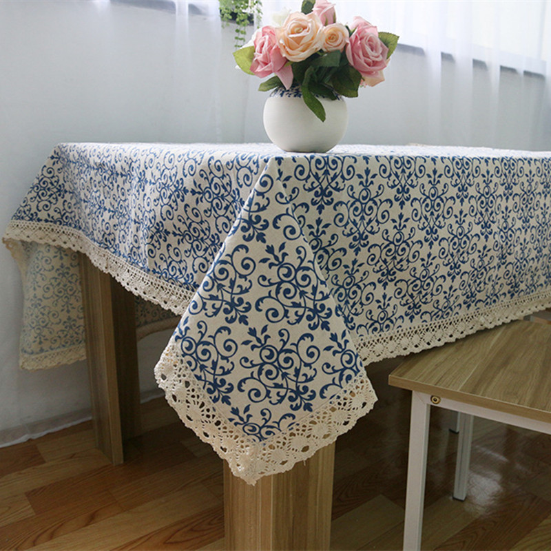 Great Blue And White Table Cloth With Lace Retro Chinese Style Tablecloth  Rectangle Dinning Table Cover For