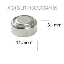 20Pcs/2Card  PKCELL 1.5V AG10 389 LR54 SR54 SR1130W 189 SB-BU L1130 1130  LR1130 Button Batteries Alkaline Cell Coin Battery