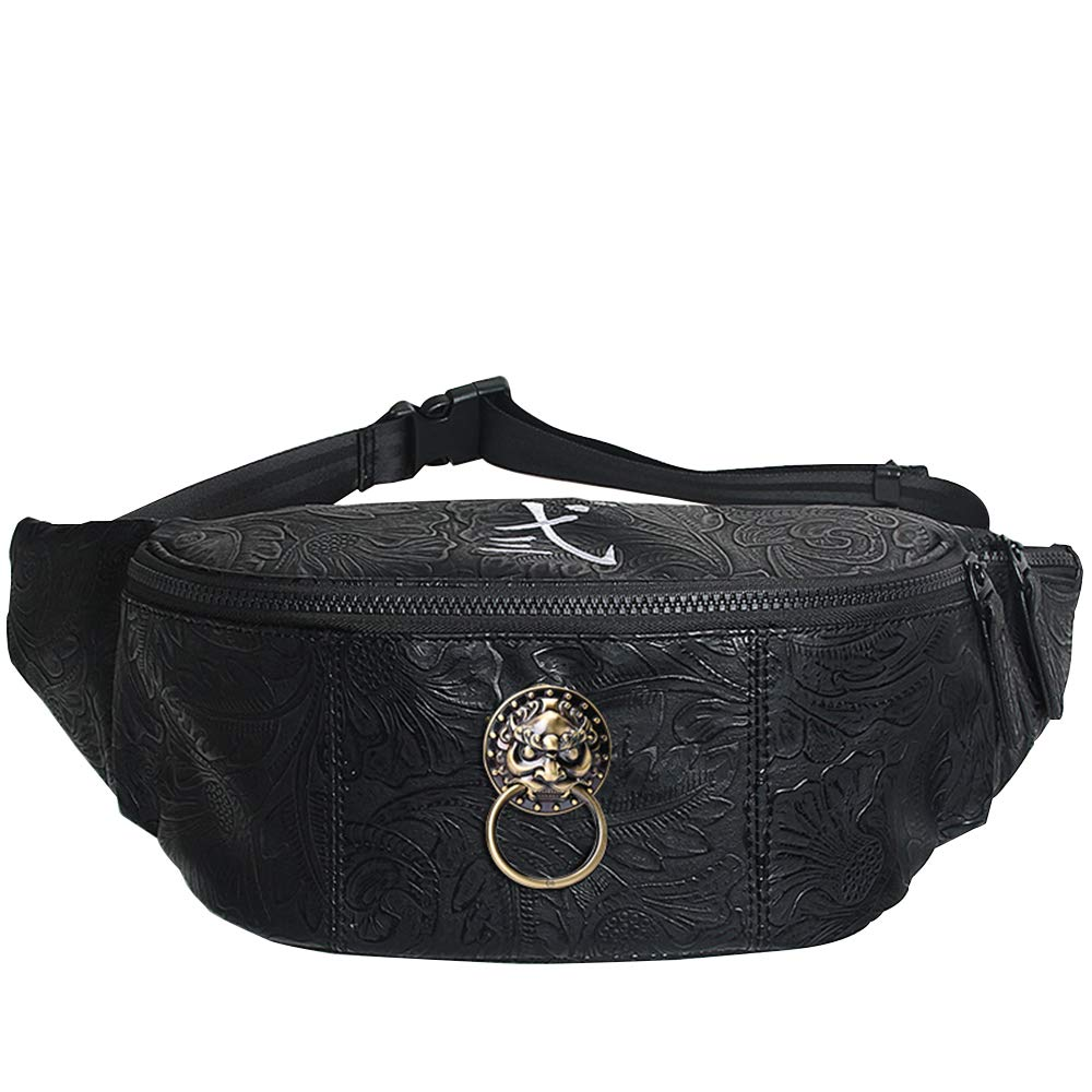 Leather Men Black Waist Bag Chinese Style Lion Head Fanny Pack for Women Casual Fanny Bags