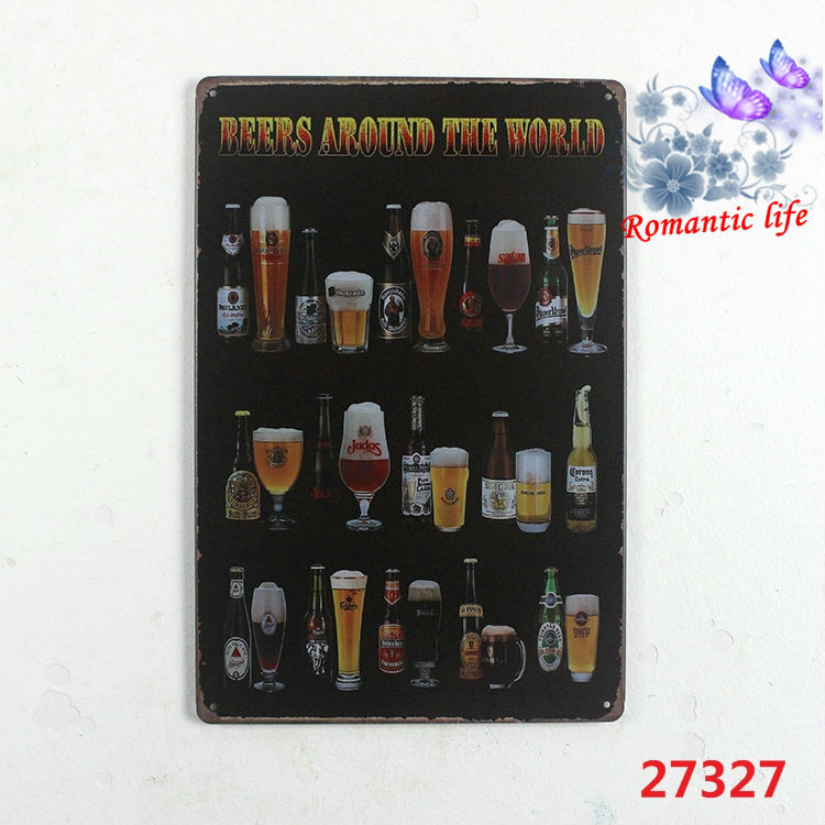 BEERS AROUND THE WORLD painting item Tin Sign Bar pub home Wall Decor Retro Metal Art Poster