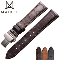 MAIKES Watch Accessories Alligator Veins Cow Leather Watchband With 316L Stainless Steel Buckle Men & Women Replace Watch Strap