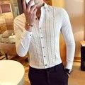 2017 mens camisas de vestido de luxo vintage longo-luva camisas barroco bordado tarja camisas de casamento do mens clothing camisa sociais