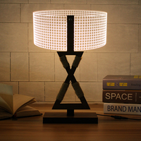 1Set 3D Wooden Stand Lamp Gift Night Light Bedroom Table Desk Lamp Warm White Lighting Plug Connector Home Decor