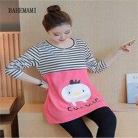 Comfortable Stripe Cartoon Nursing Top T Shirts For Pregnant Women Long Sleeve Breastfeeding Tops T Shirt